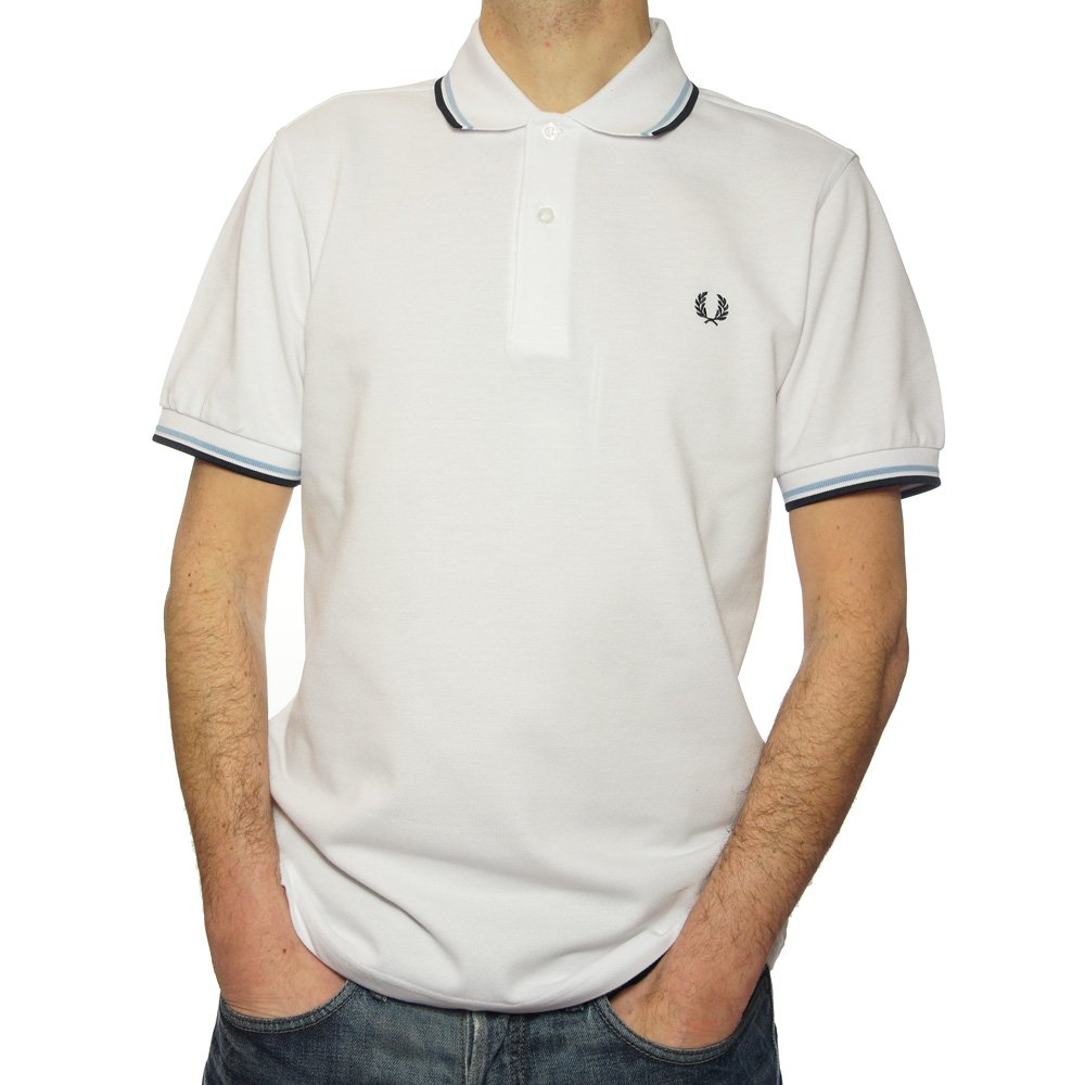 Buy Fred Perry Twin Tipped Polo Shirt In White Fred Perry Jon Barrie