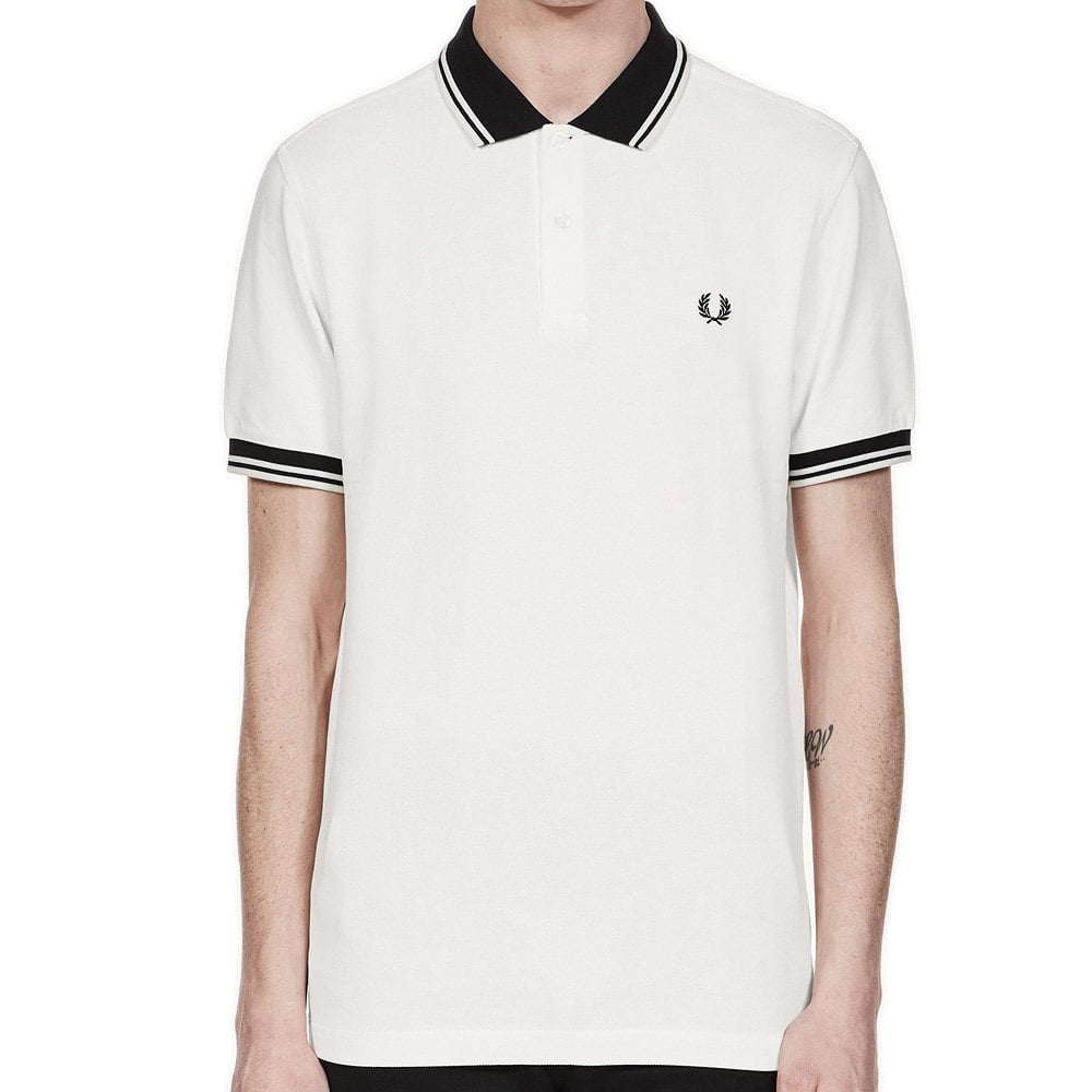 Fred Perry Short Sleeve Block Tipped Polo Shirt Snow White